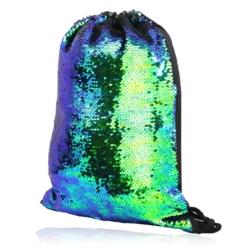 Plecak młodzieżowy cekinowy niebiesko-zielony PL84