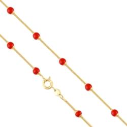 Łańcuszek pozłacany - Czerwone kulki - LAP1100