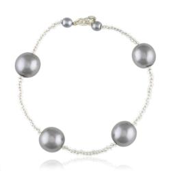 Bransoletka z perłami i kryształami - BRA851