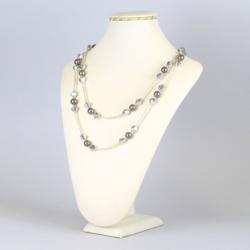 Naszyjnik perła czeska szara - NA1228
