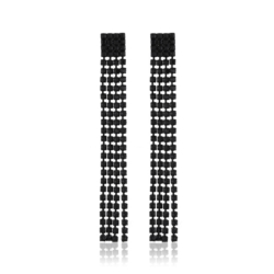 Kolczyki czeskie -czarne kryształki - 8,5cm EA1958