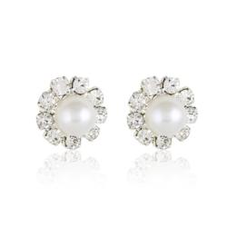 Kolczyki perła w kryształach - 1cm - EA1995