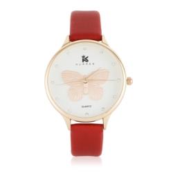 Zegarek damski czerwony - motyl - Z622