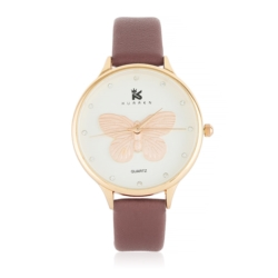 Zegarek damski bordowy - motyl - Z623