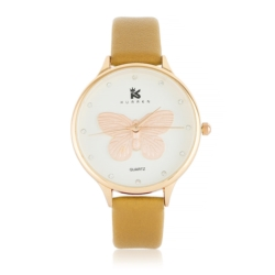 Zegarek damski jasny brąz - motyl - Z624