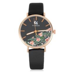 Zegarek damski z motywem kwiatowym - czarny - Z639