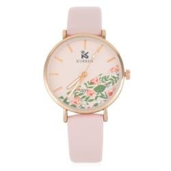 Zegarek damski z motywem kwiatowym - różowy - Z640