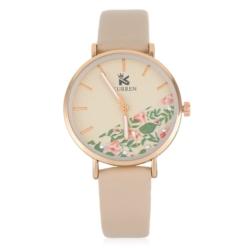 Zegarek damski z motywem kwiatowym - beżowy - Z641