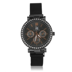 Zegarek damski- bransoleta magnetyczna czarna Z654