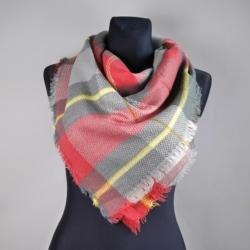 Chusta red grey w kratę - 100x90cm WO796