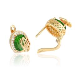Kolczyki z zielonym kryształem- Xuping - EAP9606