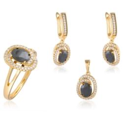 Komplet - czarne kryształy - Xuping - PK435