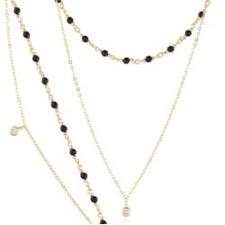 Komplet z czarnymi perełkami - Xuping - PK440