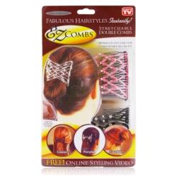 Grzebyk ozdobny do włosów róż+czar. - 2szt.- GRZ21