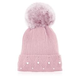 Czapka zimowa damska różowa - perełki - CDW227