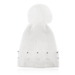 Czapka zimowa damska biała - perełki - CDW228
