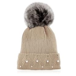 Czapka zimowa damska brązowa - perełki - CDW229