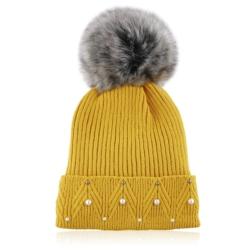 Czapka zimowa damska musztardowa- perełki - CDW230