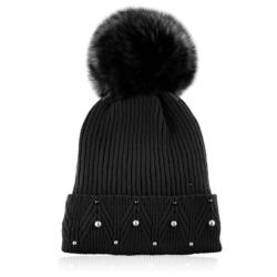 Czapka zimowa damska czarna - perełki - CDW231