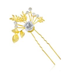 Złota kokówka z kryształkami - 9cm - SZPIL27