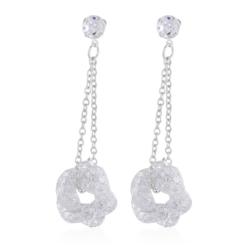 Kolczyk z kryształkami - srebrny - EA2182