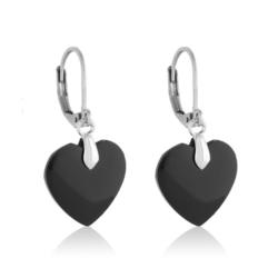 Kolczyki wiszące - czarne serca - EA2188