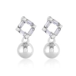Kolczyki wiszące - kulki z kryształkami - EA2193