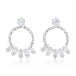 Kolczyki wiszące - kryształkami srebrne - EA2194