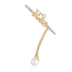 Kolczyki perła z nausznicą - KISS - złote EA2198