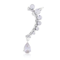 Kolczyki z kryształkami i nausznicą srebrne EA2199