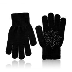 Rękawiczki dziecięce - śnieżynka black - RK435