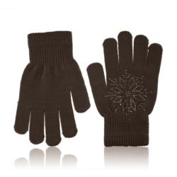 Rękawiczki dziecięce - śnieżynka brown - RK436