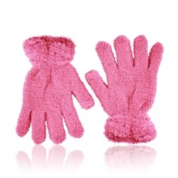 Rękawiczki dziecięce - puszyste róż - RK438