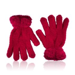 Rękawiczki dziecięce - puszyste czerwień - RK439