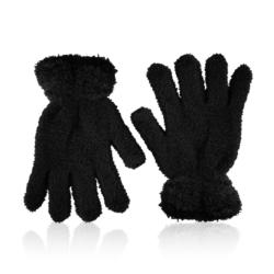 Rękawiczki dziecięce - puszyste czerń - RK440