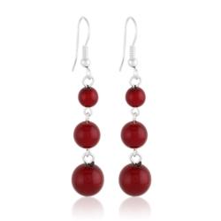 Kolczyki stopniowane - czerwona perła - 5cm PEK100