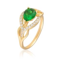 Pierścionek z zielonym kryształem - Xuping PP1989