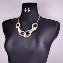 Komplet perła łańcuch - kolczyk naszyjnik - KOM132