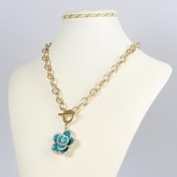 Naszyjnik - łańcuch z kwiatkiem - NA1424