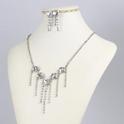 Komplet - kolczyk naszyjnik - kryształki - KOM135