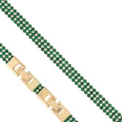 Bransoletka - zielone kryształki - Xuping - BP4283