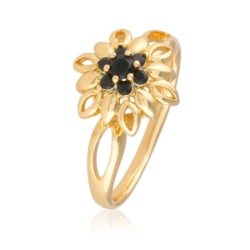 Pierścionek - black flower - Xuping - PP2016