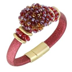 Bransoletka - czerwone kryształki - BRA1212