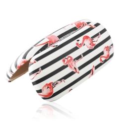 Etui na okulary - flamingi - czarne paski - EO161