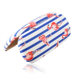 Etui na okulary - flamingi- niebieskie paski EO163