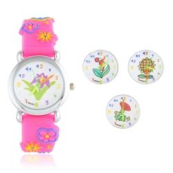 Zegarek dziecięcy różowy - kwiatki - Z932