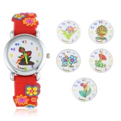 Zegarek dziecięcy czerwony - kwiatki - Z933