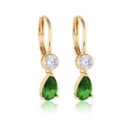 Kolczyki z zielonym kryształem - Xuping EAP10302