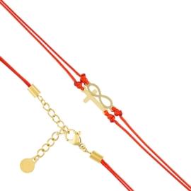 Bransoletka - czerwony sznurek - Blueberry BP4372