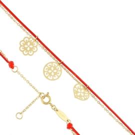Bransoletka - czerwony sznurek - Blueberry BP4373